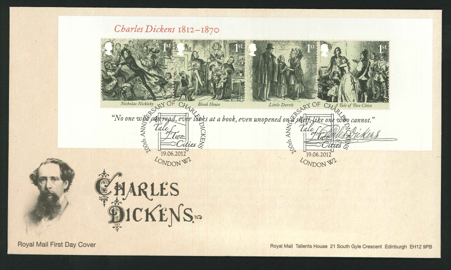 2012 - Charles Dickens Mini Sheet First Day Cover - Tale of Two Cities, London W2 Postmark