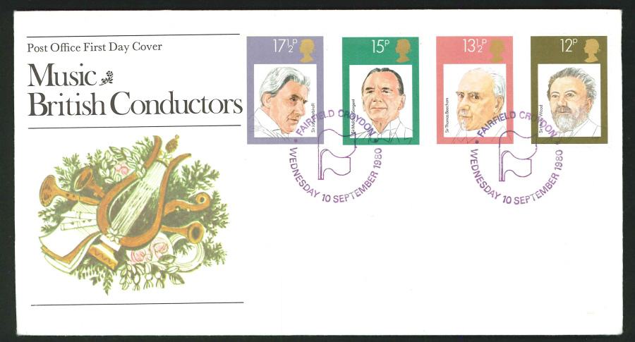1980 - British Conductors First Day Cover - Fairfield, Croydon Postmark