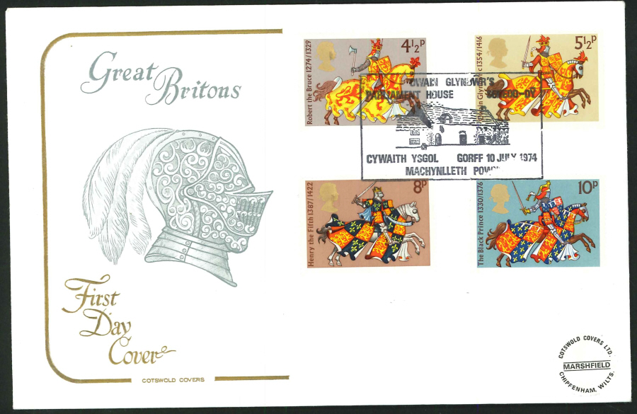 1974 - Great Britons First Day Cover - Glyndwr's Parliament House, Machynlleth Postmark