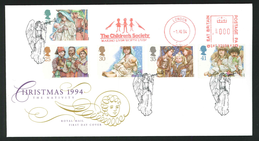 1994 - Christmas First Day Cover - Meter Mark & Bethlehem Postmark