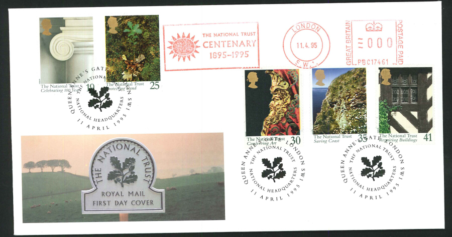 1995 - National Trust First Day Cover - Meter Mark & Queen Anne's Gate Postmark