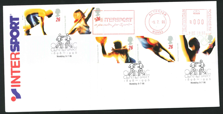 1996 - Olympic Games First Day Cover - Meter Mark & Wembley Postmark