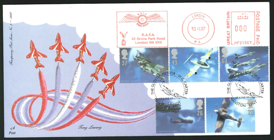 1997 - Architects of the Air First Day Cover - Meter Mark & Gloster Meteor Postmark