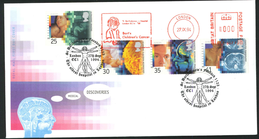 1994 - Medical Discoveries First Day Cover - Meter Mark & St.Bartholomew's Hospital Postmark
