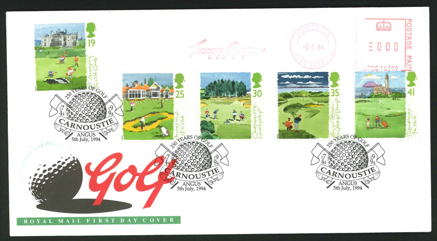 1994 - Golf First Day Cover - Meter Mark & Carnoustie Postmark