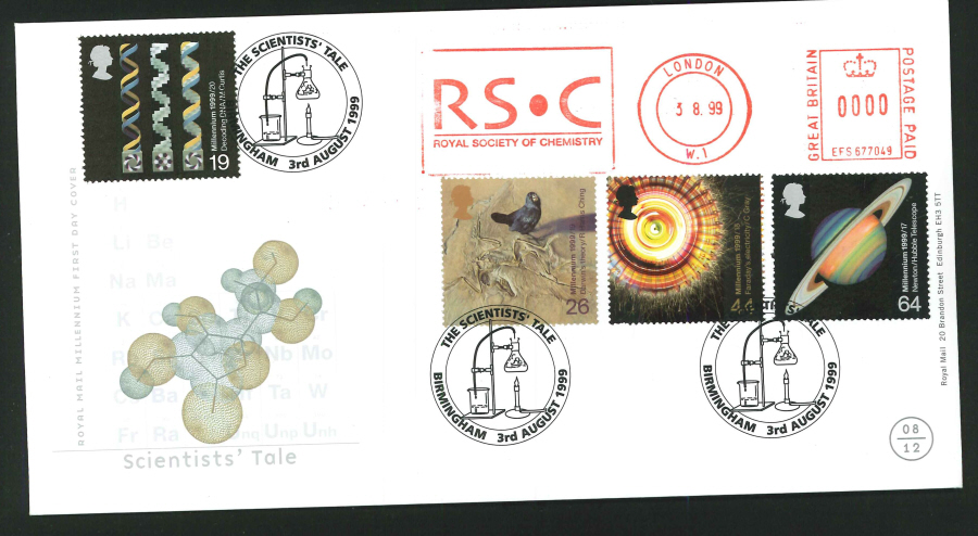1999 - Scientists' Tale First Day Cover - Meter Mark & Birmingham Postmark