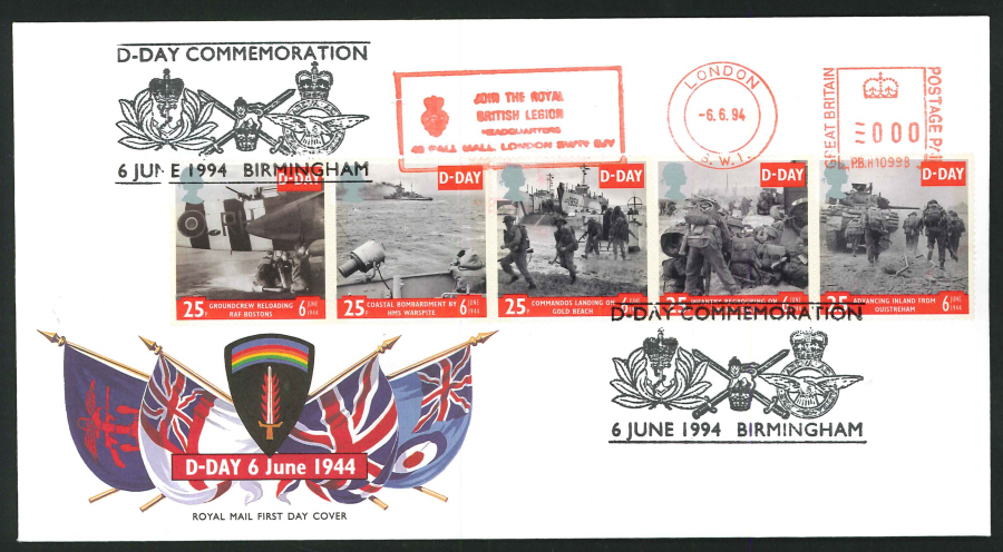 1994 - D Day First Day Cover - Meter Mark & Birmingham Postmark