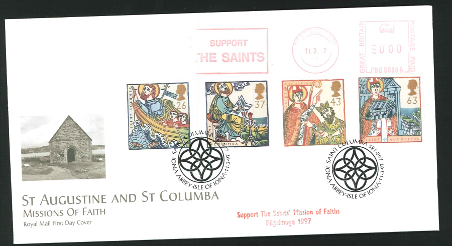 1997 - Missions of Faith First Day Cover - Meter Mark & St. Columba Iona Abbey Postmark