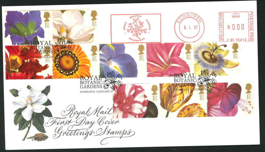 1997 - Greetings First Day Cover - Meter Mark & Royal Botanic Gardens Edinburgh Postmark