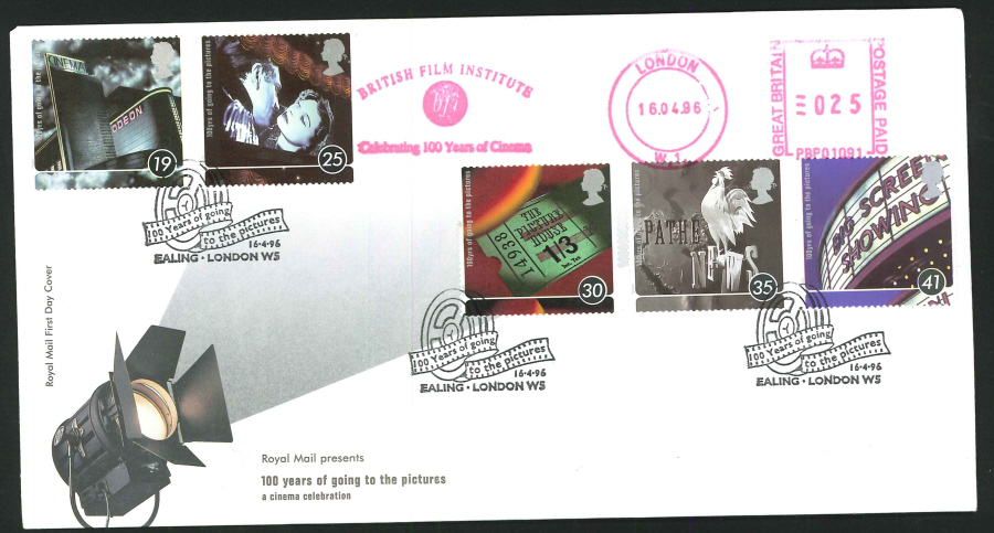 1996 - 100 Years of the Cinema First Day Cover - Meter Mark & Ealing Postmark