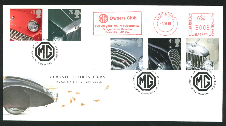 1996 - Classic Cars First Day Cover - Meter Mark & MG Owners' Club, Swavesley Postmark