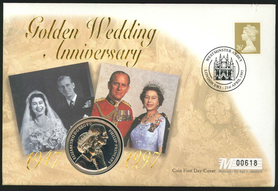 1997 - Golden Wedding Anniversary Coin First Day Cover- £5 Coin & Westminster Abbey Postmark