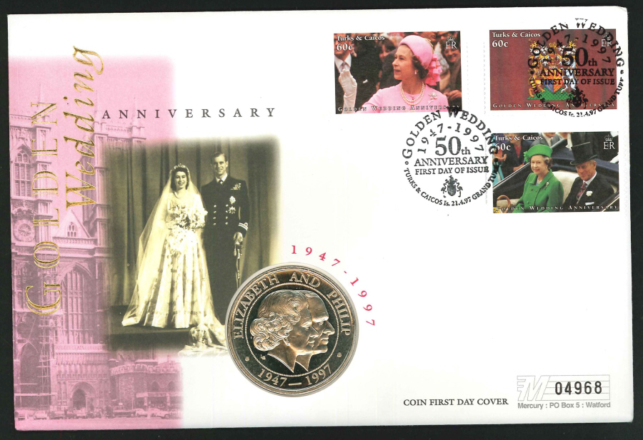 1997 - Golden Wedding Anniversary Coin First Day Cover - 5 Crowns Coin & Turks & Caicos Postmark
