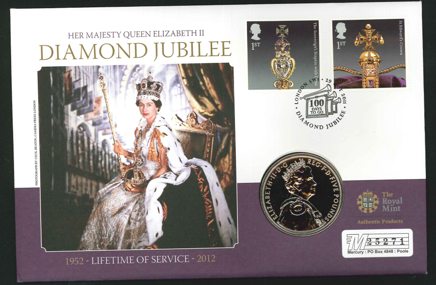 2011 - Diamond Jubilee Coin Commemorative Cover- £5 Coin & 100 Days to Go London SW1 Postmark