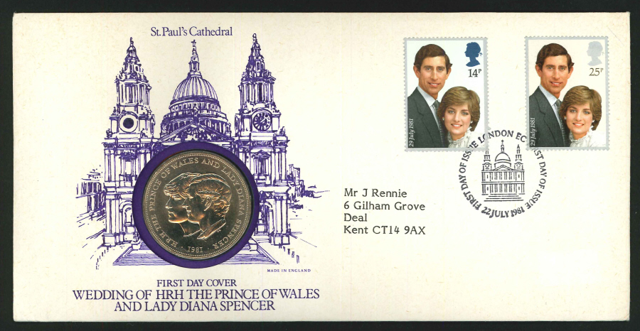 1981 - Royal Wedding Coin First Day Cover - Crown Coin & London EC Postmark