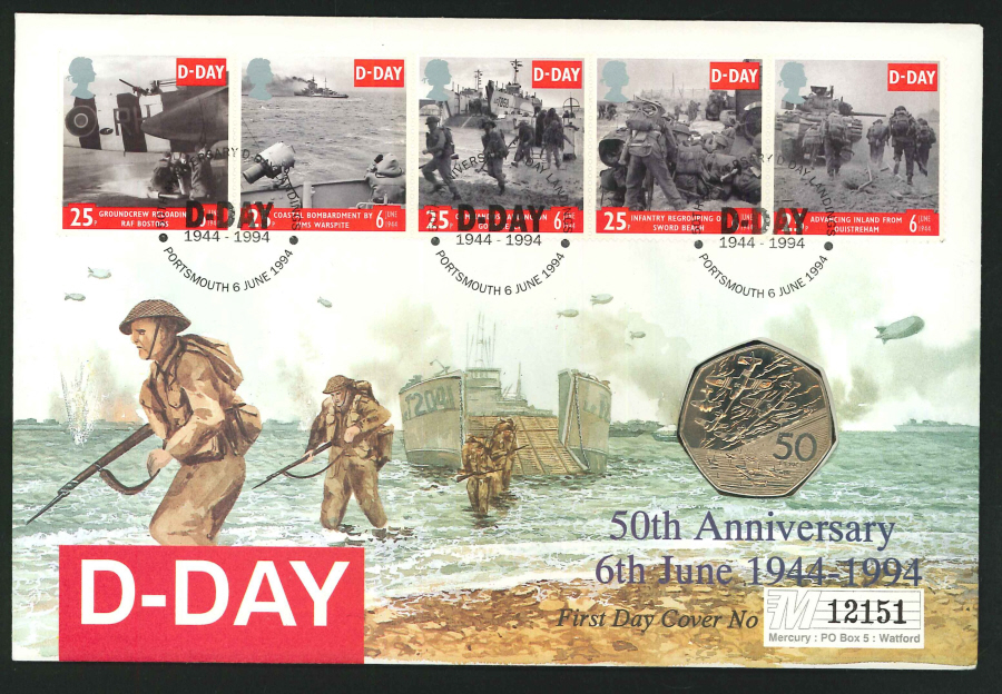 1994 - D-Day Coin First Day Cover - 50p Coin & Portsmouth Postmark