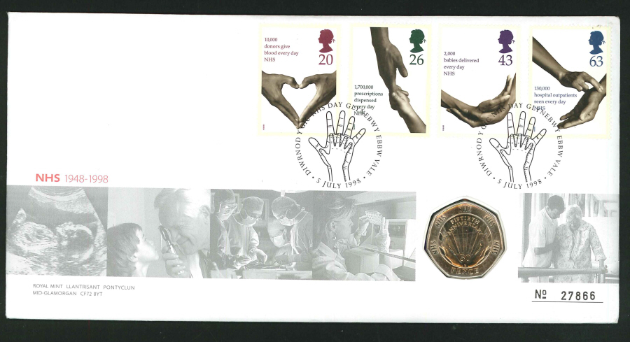 1998 - National Health Service Coin Commemorative Cover - 50p Coin & Aneurin Bevan, Ebbw Vale Postmark