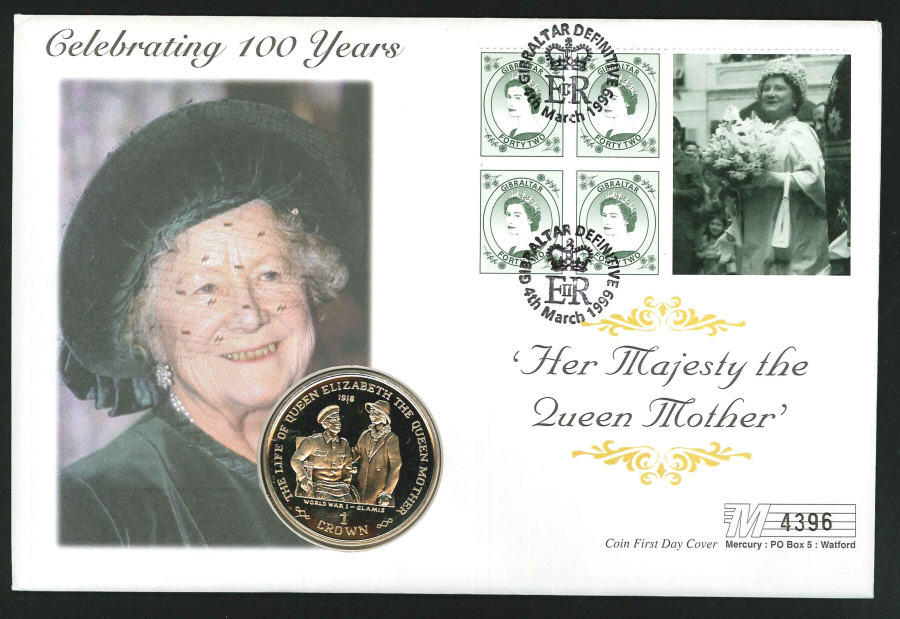 1999 - Queen Mother Celebrating 100 Years Coin First Day Cover - Crown Coin & Gibraltar Postmark