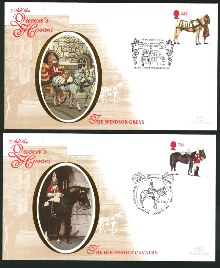 1997 - All the Queen's Horses Set of 4 First Day Covers - Horse Guards Ave, London SW1 Postmark
