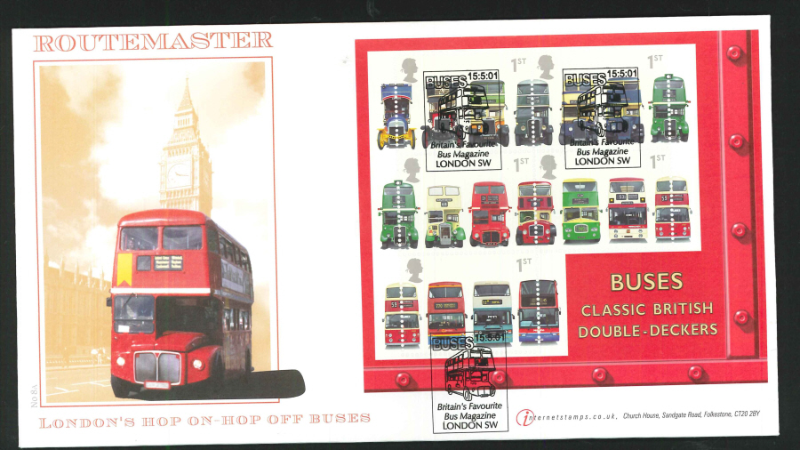 2001 - Buses Mini Sheet First Day Cover - Bus Magazine, London SW Postmark