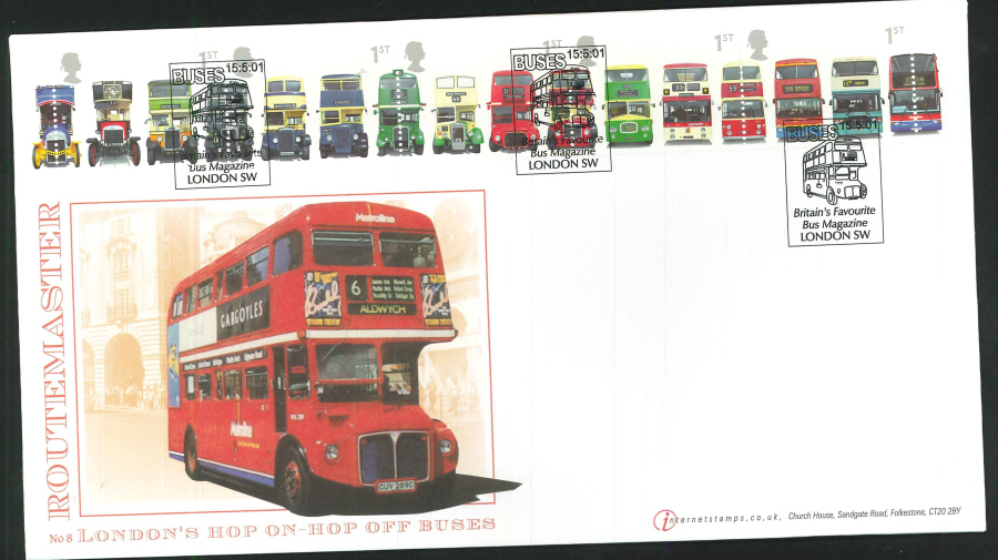 2001 - Buses First Day Cover - Bus Magazine, London SW Postmark