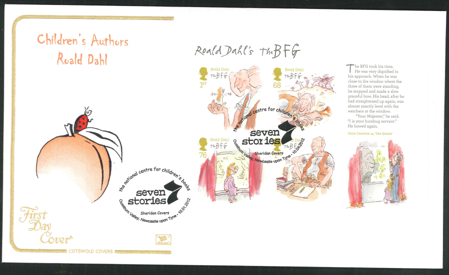 2012 - Children's Authors Roald Dahl - Mini Sheet FDC - Seven Stories, Ouseburn, Newcastle Postmark