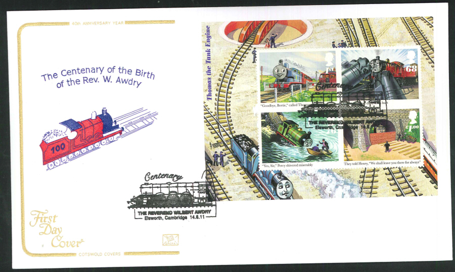 2011 - Thomas the Tank Mini Sheet - F D C -Elsworth Cambridge Postmark