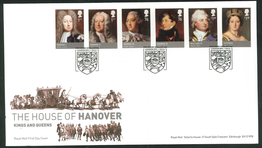 2011 The House of Hanover Royal Mail First Day Cover - House of Hanover London SW1 Postmar