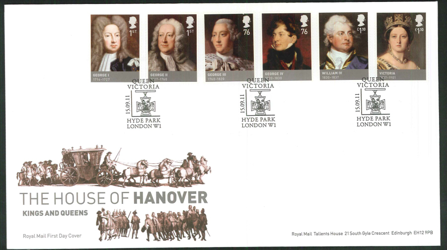 2011 The House of Hanover Royal Mail First Day Cover - House of Hanover Hyde Park London W1 Postmark