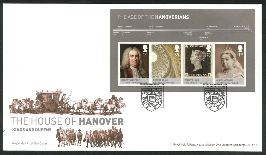 2011 The House of Hanover Royal Mail Mini Sheet First Day Cover - House of Hanover London SW1 Postmark