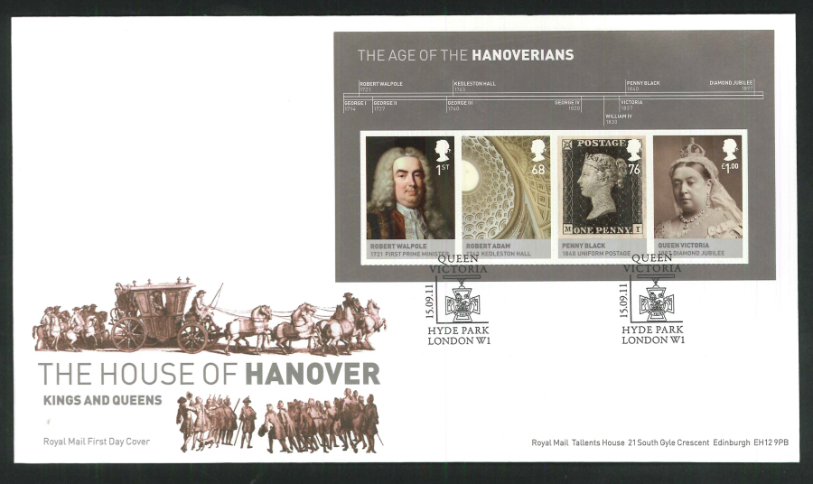 2011 The House of Hanover Royal Mail Mini Sheet First Day Cover - House of Hanover Hyde Park London Postmark