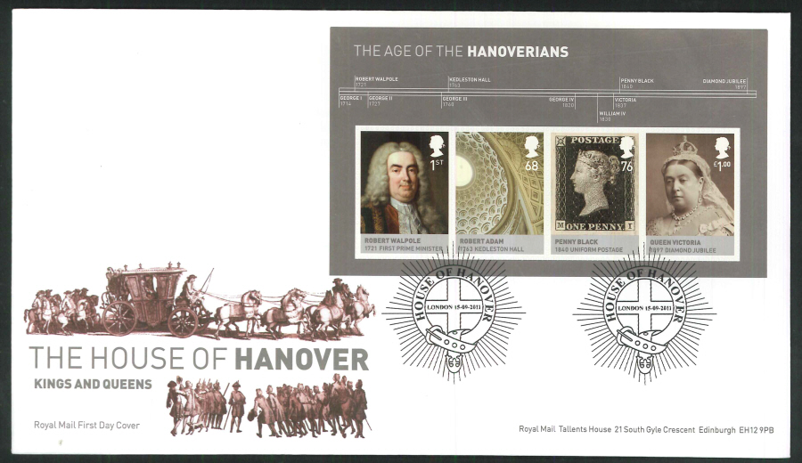 2011 The House of Hanover Royal Mail Mini Sheet First Day Cover - House of Hanover London Postmark