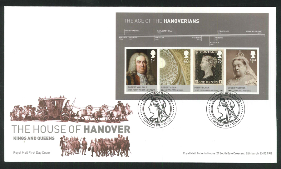 2011 The House of Hanover Royal Mail Mini Sheet First Day Cover - House of Hanover London W8 Postmark