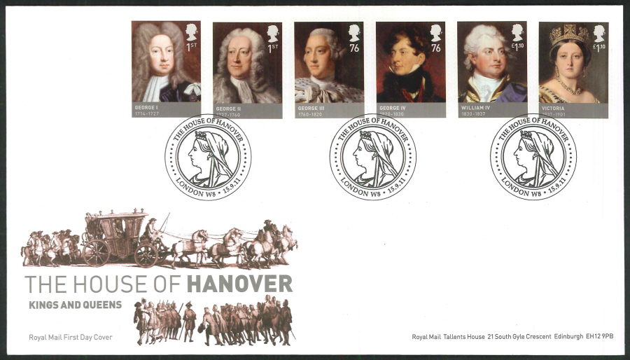 2011 The House of Hanover Royal Mail First Day Cover - House of Hanover London W8 Postmark