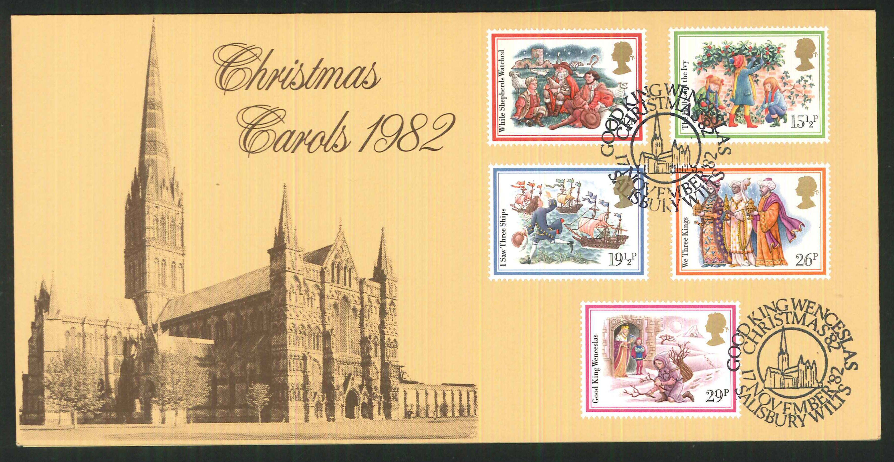 1982 - Christmas First Day Cover, Christmas 82 Salisbury Postmark