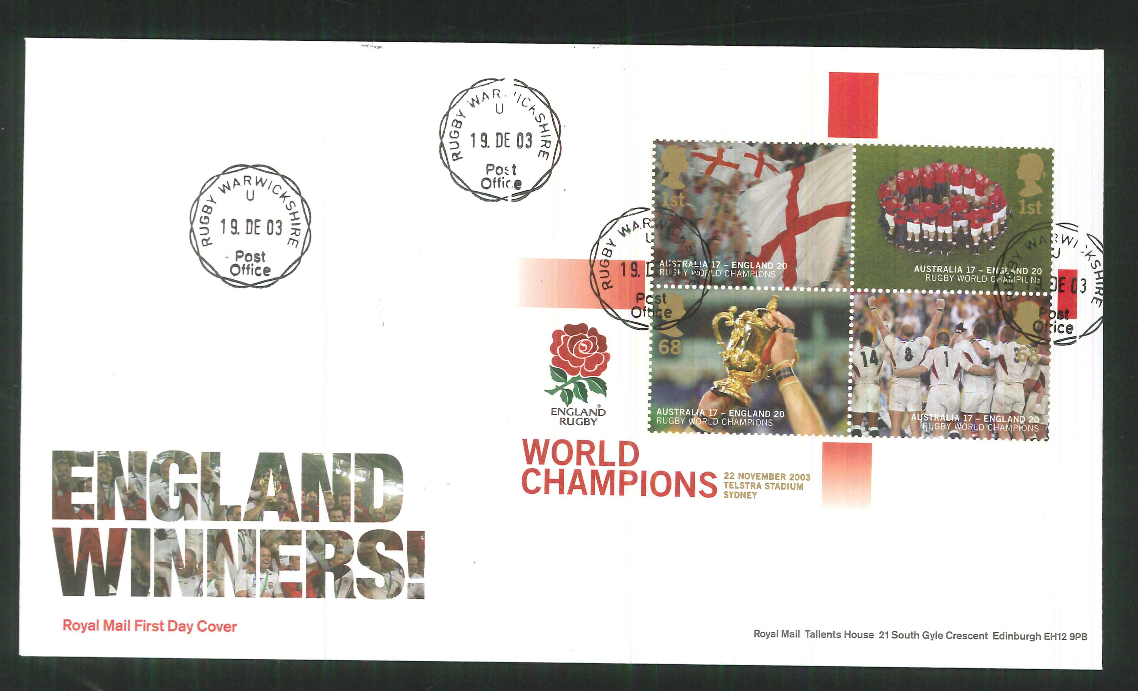 2003 - Rugby World Champions F D C Cover -Rugby CDS Postmark