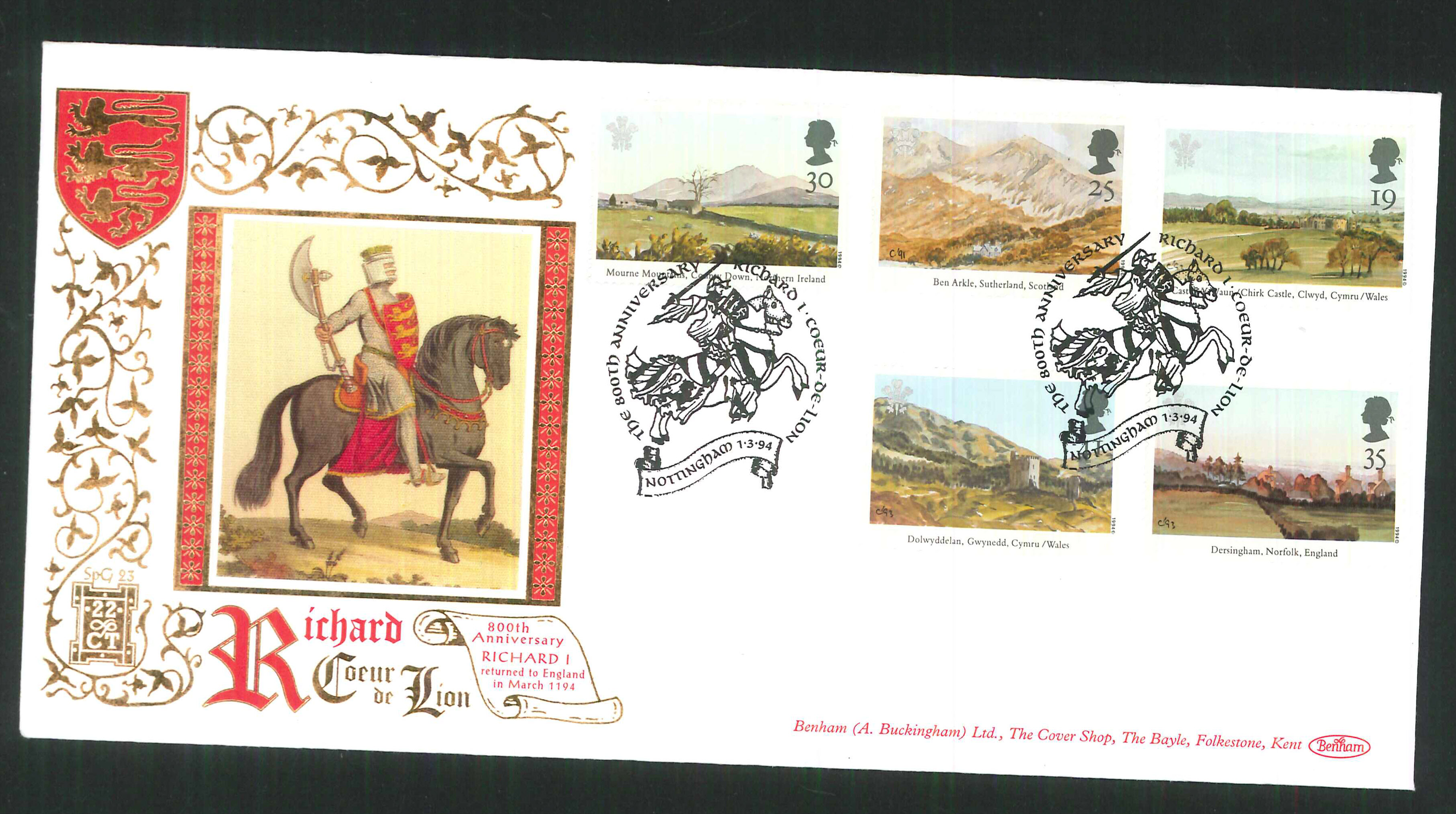 1994 -800th Anniversary of Richard I FDC Benham 22ct Gold SPG Nottingham Postmark