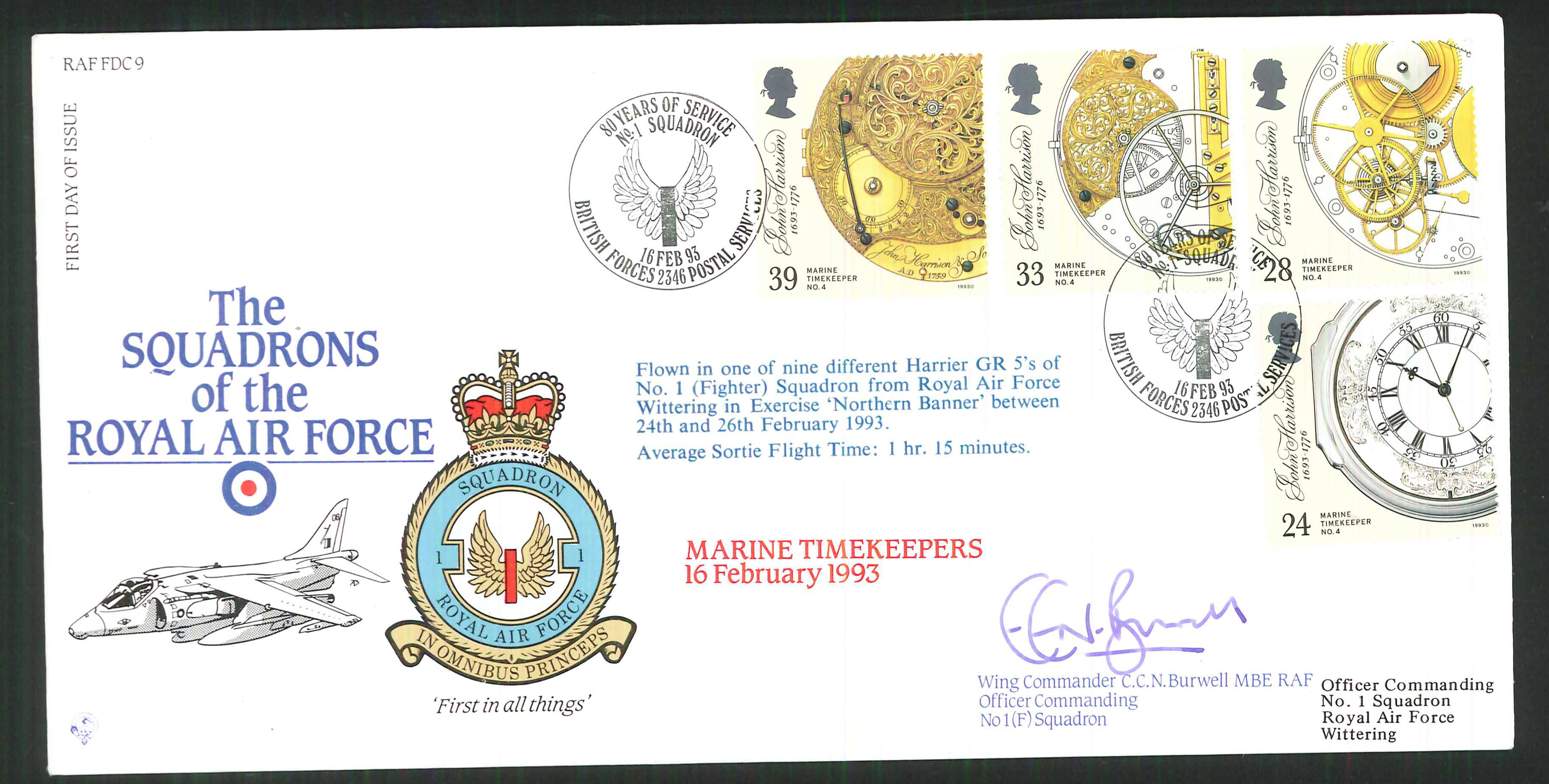 1992 - R A F Signed Marine Timekeepers First Day Cover - British Forces Postmark