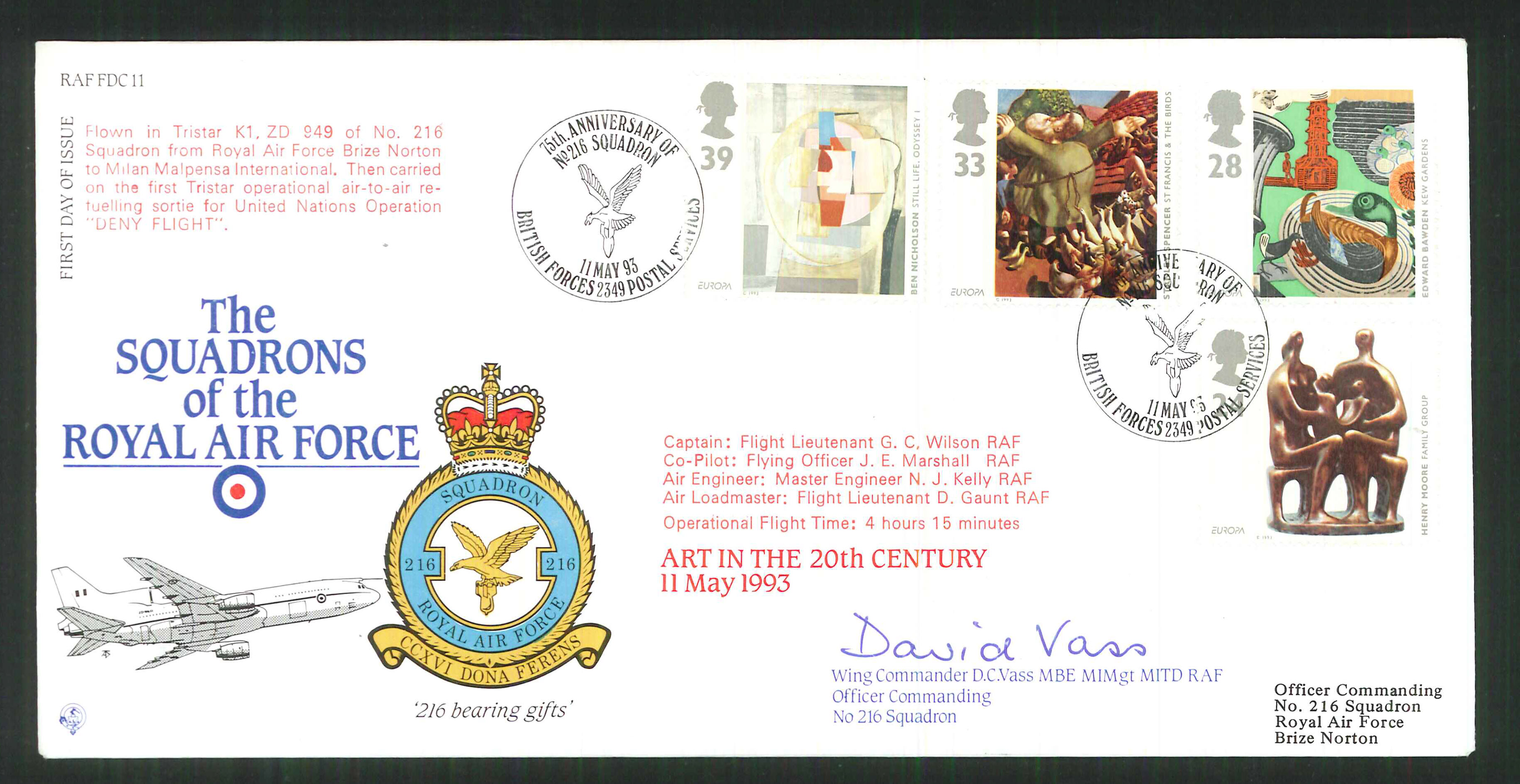 1992 - R A F Signed Art in the 20th Century First Day Cover - British Forces Postmark