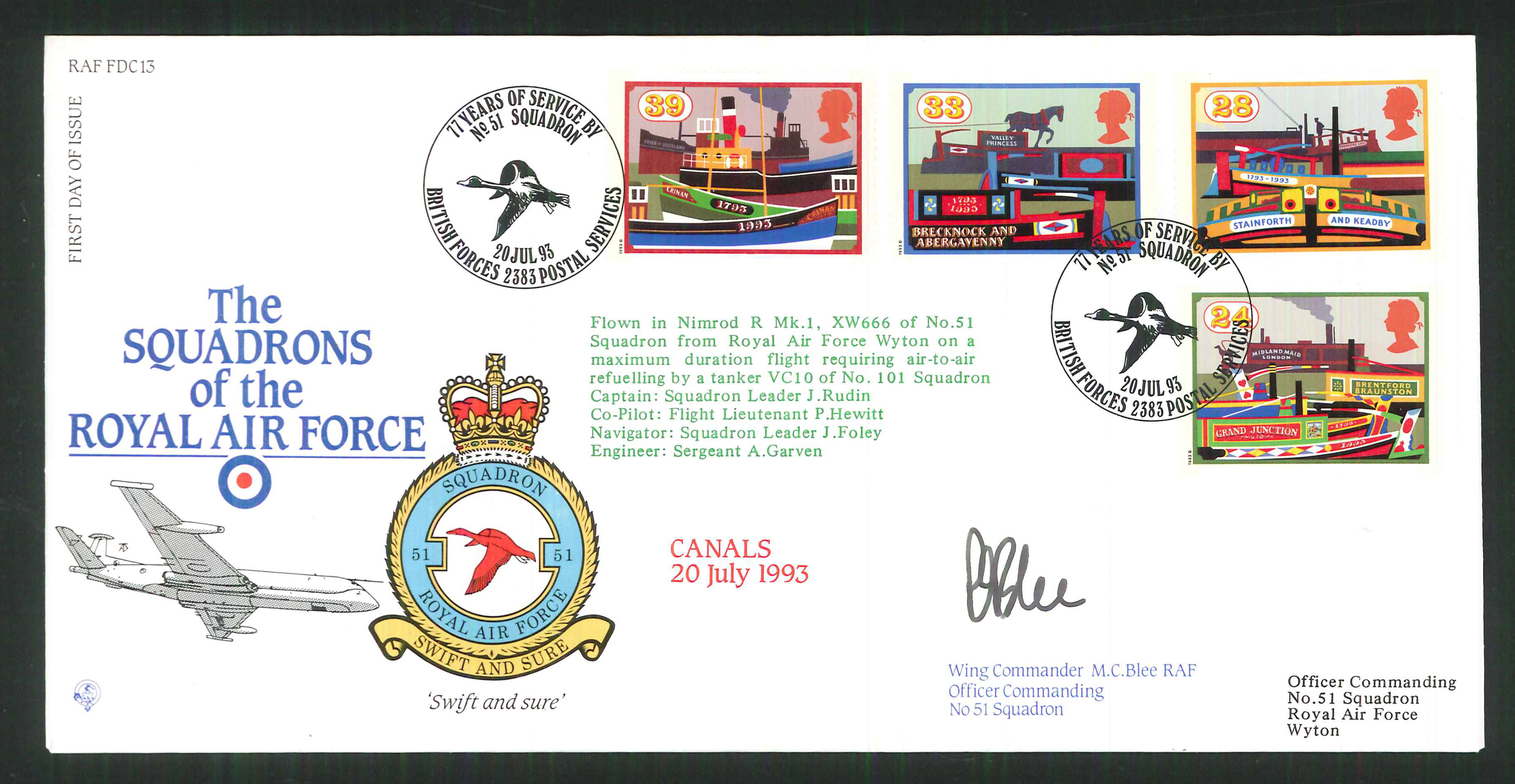 1992 - R A F Signed Canals First Day Cover - British Forces Postmark