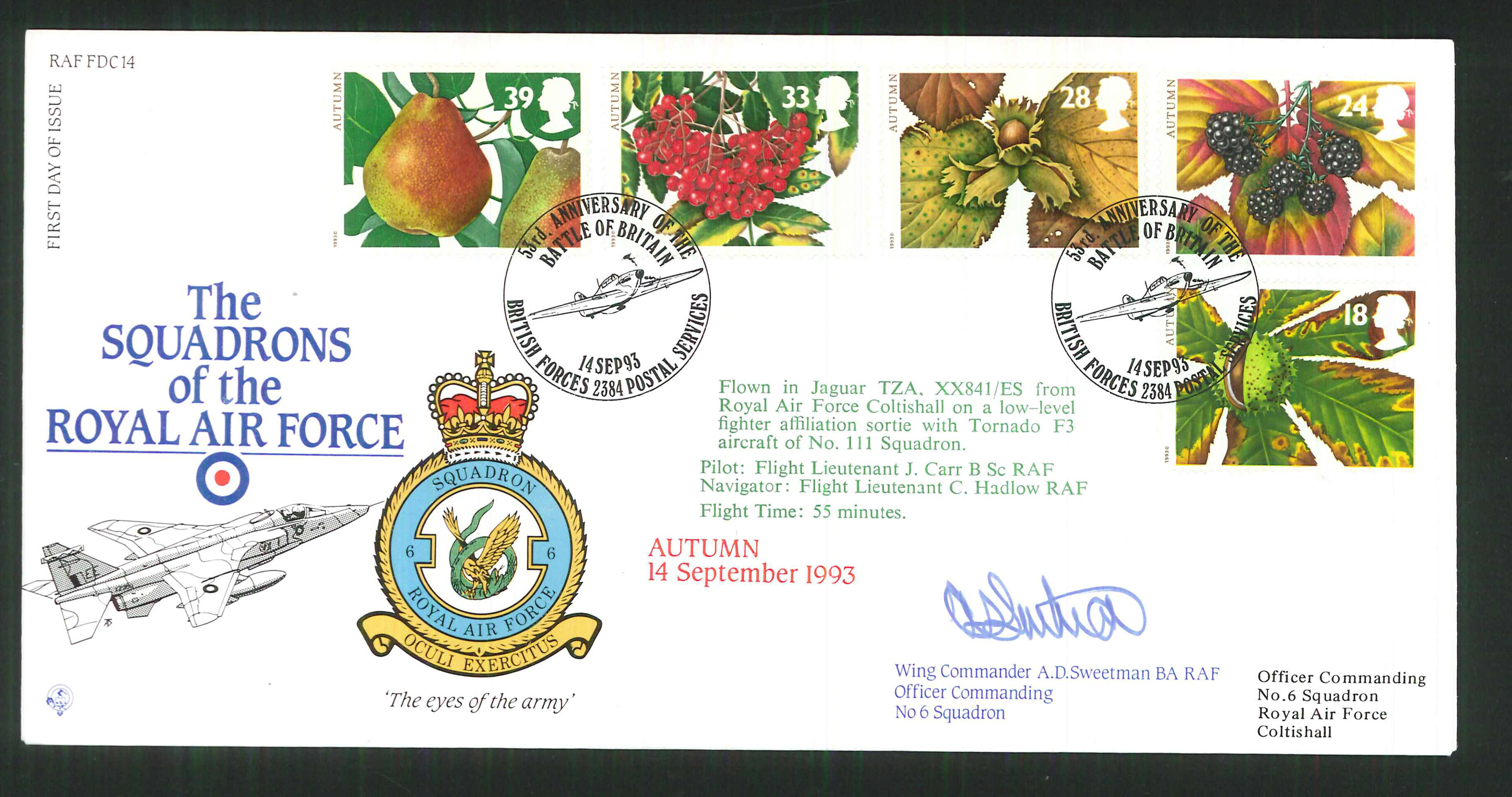1992 - R A F Signed Autumn First Day Cover - British Forces Postmark
