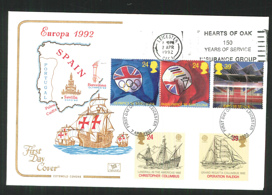 1992 - Europa First Day Cover - Slogan Hearts of Oak Leicester Postmark
