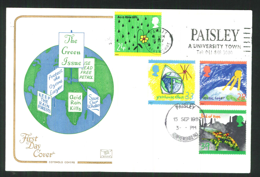 1992 - Green Issue First Day Cover Slogan Paisley University Town Postmark