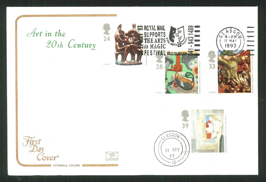 1992 - Cotswold Slogan Art in the 20th Century Art Glasgow First Day Cover -Slogan Postmark