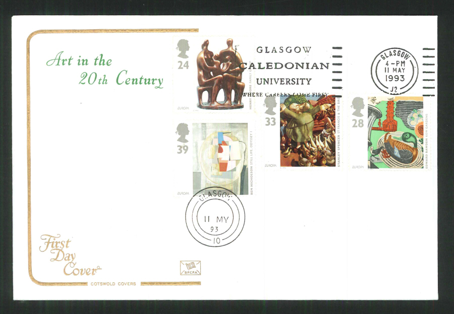 1992 - Cotswold Slogan Art in the 20th Century Glasgow University First Day Cover - Postmark