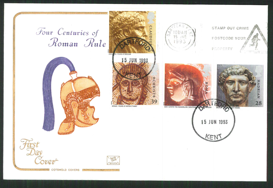 1992 - Cotswold Roman Britain First Day Cover - Slogan Stamp out Crime Postmark