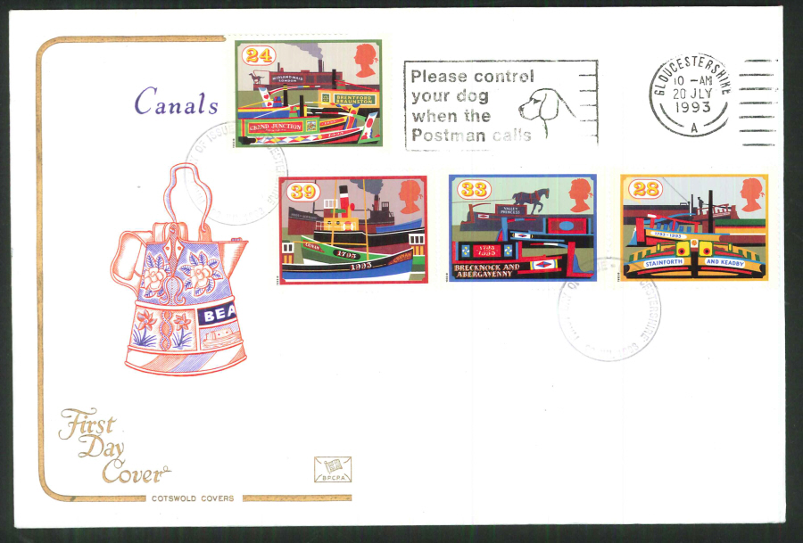 1992 - Cotswold Slogan Canals First Day Cover -Control your Dog Postmark
