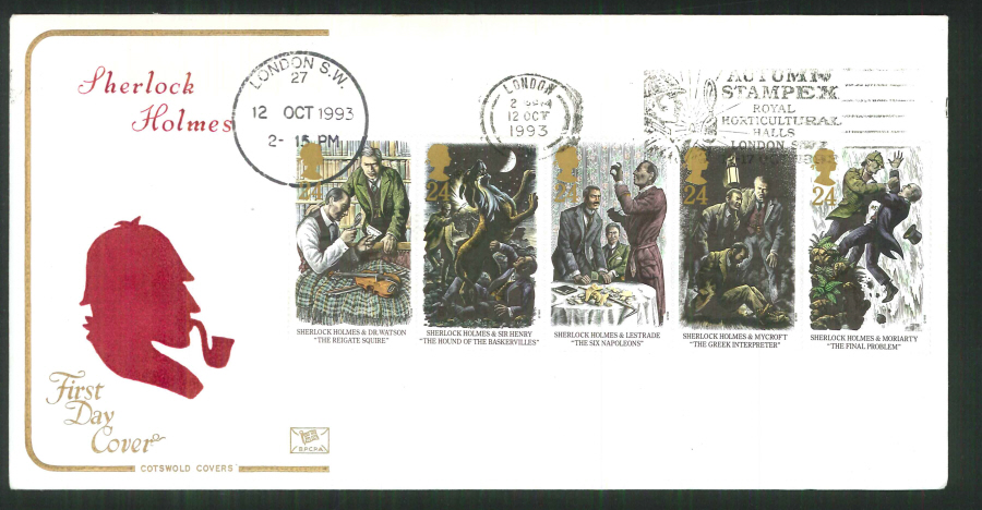 1992 - Cotswold Slogan FDC Sherlock Holmes First Day Cover - Slogan Stampex Postmark