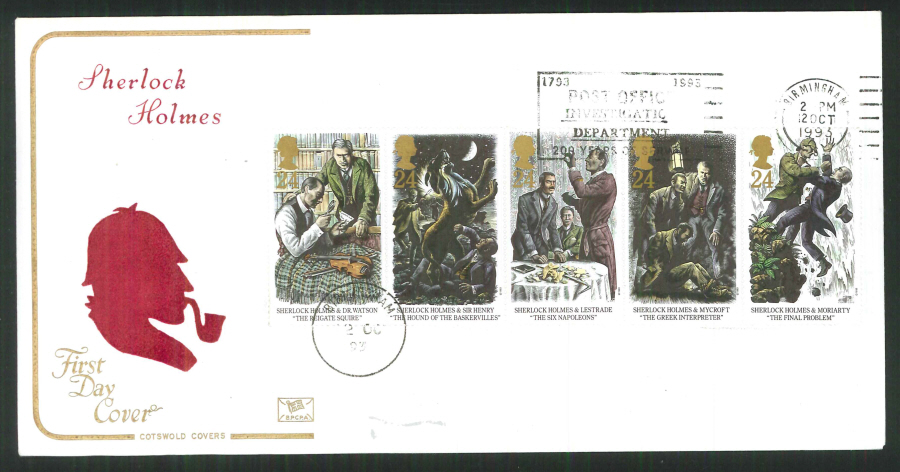 1992 - Cotswold Slogan FDC Sherlock Holmes First Day Cover - Slogann P O Investigates