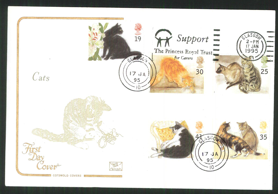 1995 - Cats Cotswold Slogan FDC - Princess Royal Trust Postmark